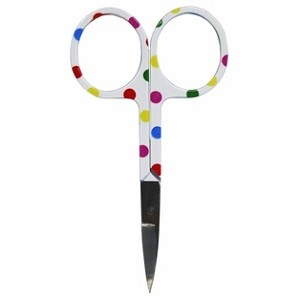 "3.75"" Embroidery Scissors Polka Dots Circles on White - Stainless Steel (261-61)"