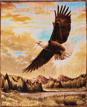 "Quilt - 41"" X 33.75"" Finished Quilted Wall Hanging Majestic Eagle Nature Scenic Landscape Quilt (M403.22)"