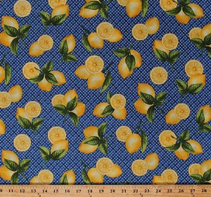 Cotton Fresh Lemons Lemon Citrus Fruits Kitchen Food on Blue Weave-Look Summer Picnic Farmer's Market Country Chic Cotton Fabric Print by the Yard (AJA-12067-9)