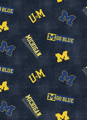 flannel university of michigan wolverines flannel fabric print by the yard. Black Bedroom Furniture Sets. Home Design Ideas
