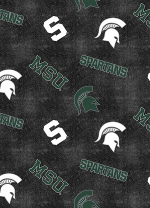 Flannel Michigan State University™ Spartans™ Distressed Logo College Flannel Fabric Print by the Yard