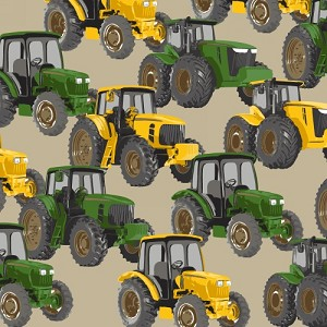 Tractors Tan Farming Farm Farmers Fleece Fabric Print by the Yard o37135-6b