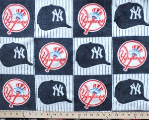 New York Yankees Square MLB Baseball Fleece Fabric Print