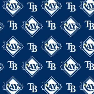 Cotton Tampa Bay Rays on Blue MLB Baseball Sports Team Cotton Fabric Print by the Yard