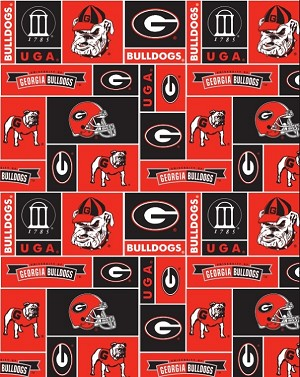 University Of Georgia Bulldogs College Fleece Fabric Print