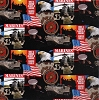 Cotton United States of America Marines USA Patriotic Military Cotton Fabric Print by the Yard (1021m)