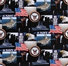 Cotton United States Navy USA Naval Patriotic Military Cotton Fabric Print By the Yard (1021navy)