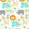 Flannel Crocodiles, lions, giraffes, elephants, pelicans and rhinos on White Animals Kids Cotton Flannel Fabric Print (0314-1)