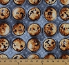 Cotton Bake Sale Blueberry Muffins Trays Desserts Pastries Bakery Food Cotton Fabric Print by the Yard (05364-99)