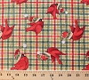 Cotton Christmas Plaid Cardinals Birds Wearing Winter Hats Red Green Plaid Festive Holidays Cotton Fabric Print by the Yard (13324-green)