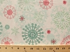 Cotton Snowflakes Pink Green Blue Snowflakes Flowers on White Chalkboard Snowboard Chalkboard Snowman Christmas Winter Holidays Festive Cotton Fabric Print by the Yard (2224-4)