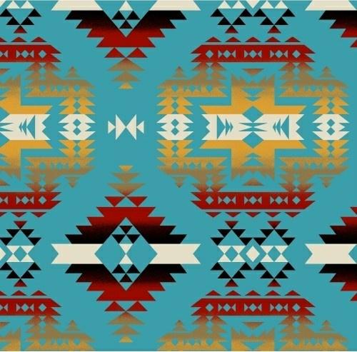 Fleece Canyon Aztec Southwest Turquoise Fleece Fabric