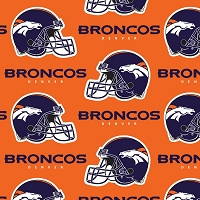 Fleece Denver Broncos Orange NFL Football Fleece Fabric Print by the yard (s6715df)