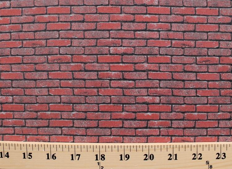 Top Cotton Landscape Medley Bricks Red Brick Wall Cotton Fabric Print  UI37