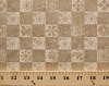 Cotton Coffee Break Checkers Checkered Squares Tiles Pattern Flowers Floral Designs Beige Cotton Fabric Print by the Yard (3743-19888-bei1)