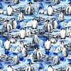 Fleece (not for masks) Ice Floe Penguins Snow Winter Fleece Fabric Print by the Yard o38057-1b