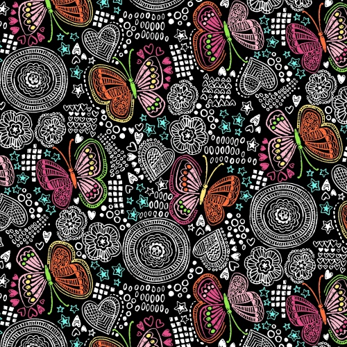 Velvafleece Butterfly Doodle Kids Fleece Fabric Print By