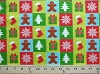 Cotton Gingerbread Men Cookies Presents Gifts Stockings Pine Trees Snowflakes in Squares Christmas Holiday Festive Cotton Fabric Print by the Yard (3816-47358-MULTI)