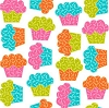 Cotton Sweet Shop Baker Cup Cakes Cupcakes on White Cotton Fabric Print by the Yard (41419-G55018)