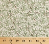 Cotton Beautiful Birds Green Leaves Branches Vines Tree Cream Cotton Fabric Print by the Yard (4311-cream)