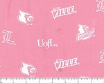 (Imperfect) Cotton Pink University of Louisville Cardinals College Team Sports Cotton Fabric Print by the Yard (lou047) D663.50
