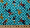 Flannel Disney Mickey Mouse and Friends Go Toss Donald Goofy Pluto Arrows Checkered Blue Cotton Flannel Fabric Print (52145-1600710)
