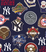 Cotton New York Yankees World Series Champion Legacy on Blue MLB Baseball Sports Team Cotton Fabric Print by the Yard (60006b)