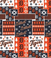 Cotton Detroit Tigers Winter Christmas MLB Baseball Sports Team Cotton Fabric Print by the Yard (60130b)