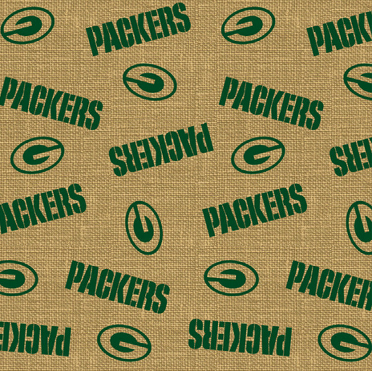 Green Bay Packers Nfl Football Sports Team Burlap Fabric Print By The Yard 6474 D
