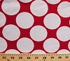 Large White Circles on Red Poly Cotton Fabric by the Yard (6874t-5l)
