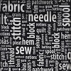 Sewing Words Terms Terminology Supplies Quilting Quilters Seamstress Tailors Couturier Knitting Knitters Sew & Tell White Words on Black Cotton Fabric Print by the Yard (BTR6934-Black)