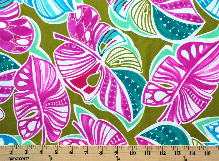 4 Way Stretch Spandex Tropical Leaves Botanical Leafy Pink Green Blue 58 Wide Swimwear Fabric By The Yard 6981p 5l
