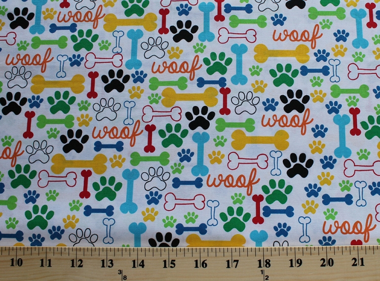 Cotton Dog Puppy Woof Bones Paw Prints White Cotton Fabric Print by the Yard (dog-c2372-white)