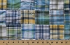 Cotton Blue Yellow Plaid Unquilted Patchwork Fabric Print (7403E-8L)
