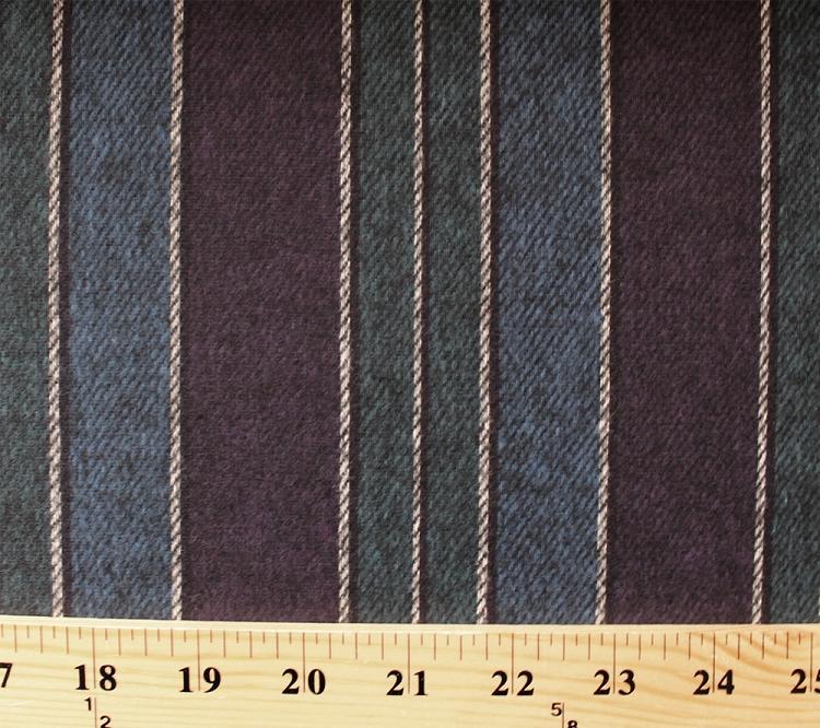 Medium Heavy Chamois Brushed Flannel Stripes Purple Blue