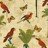 Tommy Bahama® Hearts of Pal (Parrots Butterflies Ferns) Fabric by the Yard - Toffee