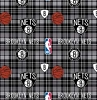 Fleece Brooklyn Nets Plaid NBA Basketball Pro Sports Team Fleece Fabric Print by the Yard s82bkln00005ac