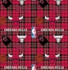Fleece Chicago Bulls Plaid NBA Basketball Pro Sports Team Fleece Fabric Print by the Yard (s82chi00005ac)