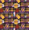 Fleece Los Angeles Lakers Plaid NBA Basketball Pro Sports Team Fleece Fabric Print by the Yard (s82lal00005ac)