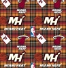 Fleece Miami Heat Plaid NBA Basketball Pro Sports Team Fleece Fabric Print by the yard (s82mia00005ac)