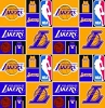 Cotton Los Angeles Lakers NBA Pro Basketball Sports Team Cotton Fabric Print by the Yard (83lal0001a)
