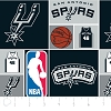 Cotton San Antonio Spurs NBA Basketball Squares Cotton Fabric Print by the Yard