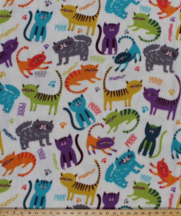 Fleece meow club cats cat kitty feline paw prints multi for Children s animal print fabric