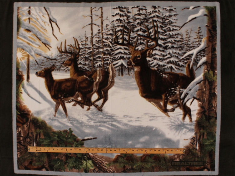 Realtree Wildlife Panel Deer Fleece Fabric Panel P1517s