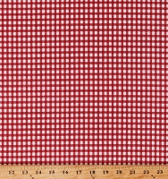 Cotton Red Gingham Checks Checkers Checkered Backyard Pals Cotton Fabric Print by the Yard (98599-313)