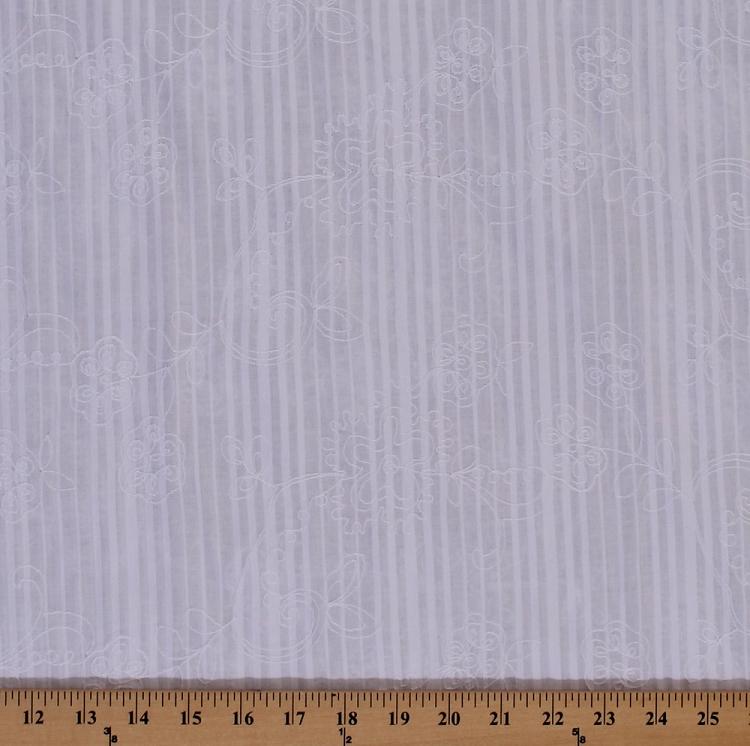 Embroidered Cotton Lawn Batiste Shadow Stripe Heirloom
