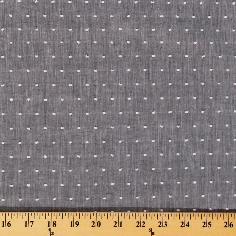 Chambray Tufted Dot Grey Fabric By The Yard 9632r 11m
