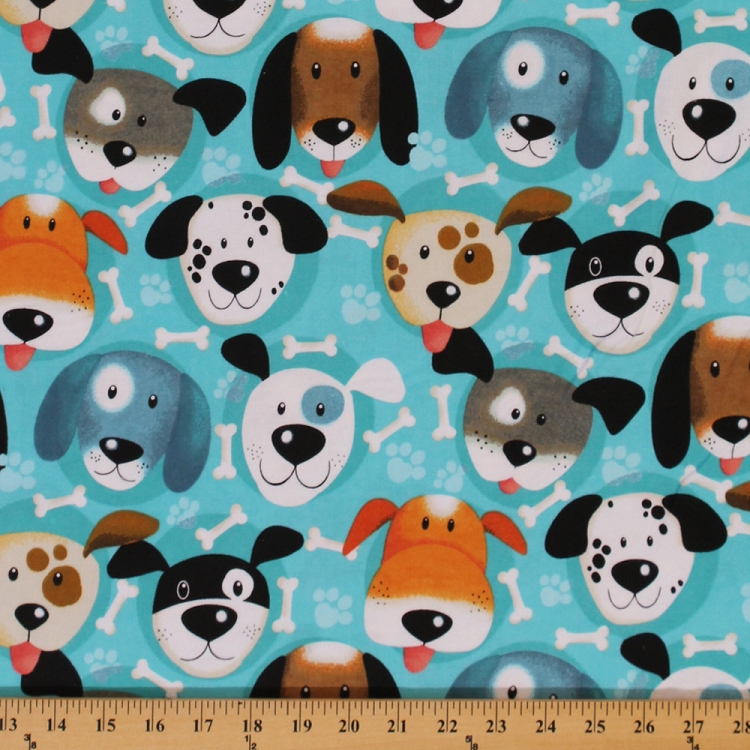 Flannel Puppy Dog Dogs Faces Allover Bones Paw Prints On