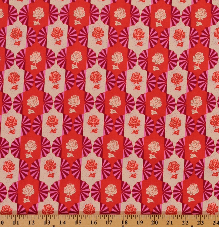Cotton Anna Maria Horner Dowry Flowers Red Cotton Fabric Print by Yard D302.16