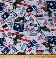 Cotton Patriotic American Flags Bald Eagles USA Stars and Stripes Independence Day Fourth of July Brave & Free Cotton Fabric Print by the Yard (50118-X)